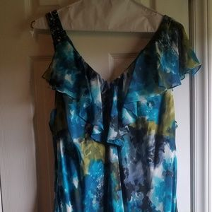 Floral Dress with Asymmetrical Neckline and Skirt